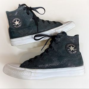 Converse All Star High Top Black & Silver Sneakers